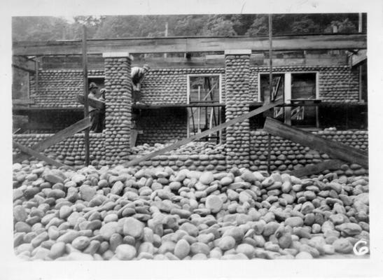 Caretakers house at State Fish Hatchery built with water-rounded pebbles