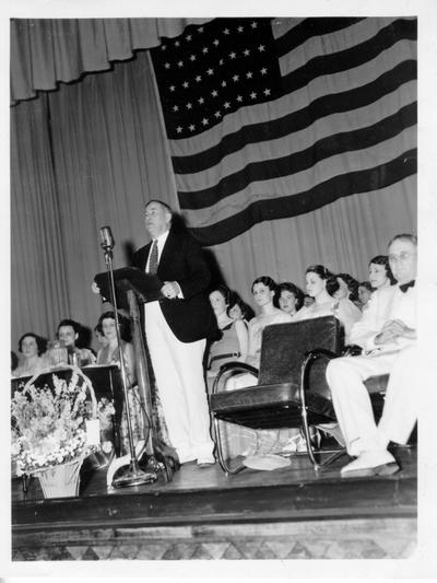 Senator Alben W. Barkley speaking at the dedication of the Franklin Library and Auditorium, June, 1937