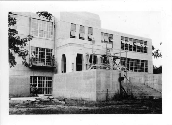 Entrance to Smith Grove High School under construction