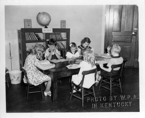 Children at the WPA Library