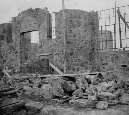 Project #1217 District 4: Construction of a native stone high school building at Artemus, KY. Structure will contain 12 rooms. The photograph was taken June 3, 1936
