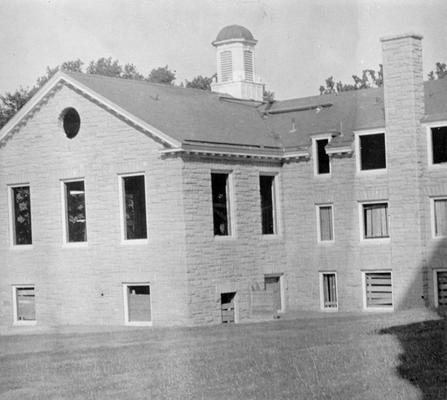 Project #729 District 5: Project #729 is the construction of a public library in the Public Park at Ashland, KY. The view, photographed June 15, 1936, shows completed outside walls which are of native stone construction