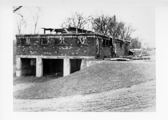 Project #717 District 6: Completion of brick work, ready for roof on Caddy House, Seneca Park Golf Course, Louisville, KY. Photographed January 3, 1936
