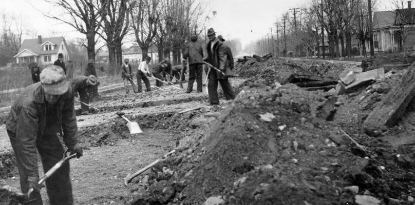 Project #2372 District 1: Construction of a two-lane concrete pavement on Elm Street, between Eighth and Twelfth streets in Henderson, KY. View was photographed April 7, 1936
