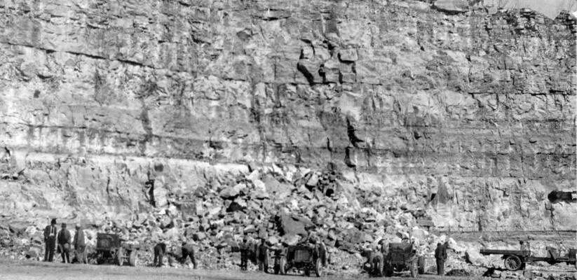 Project #1577 District 2: Photograph taken April 7, 1936 of a quarry in Pulaski County from which stone for use on WPA Project #1577 is obtained. This project provides for reconstruction of a road from Somerset to Dabney in Pulaski County, and also includes construction of a two-span reinforced concrete bridge. The quarry is operated as part of the project
