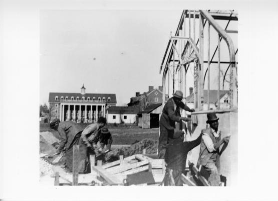 Project #1651 District 3: Reconstruction of the greenhouse on the University of Kentucky campus, Lexington, KY. The concrete foundation, walls and footings and concrete floor are of new construction. View was photographed March 23, 1936