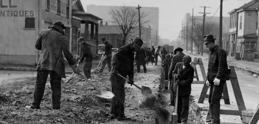 Project #2270 District 6: Sewer construction work in the City of Louisville. Construction of the Sixteenth Street sewer lateral for the City of Louisville, KY. Filling and compacting the completed sewer trench. Photograph taken March 5, 1936