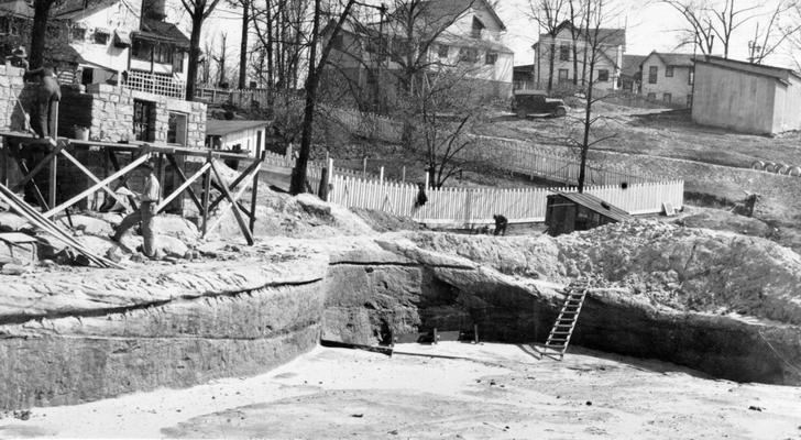Project #1404 District 2: Construction of a concrete swimming pool, 65' X 100', in the public park at Stearns, KY. The photograph, taken April 16, 1936, shows a portion of the excavation for the pool