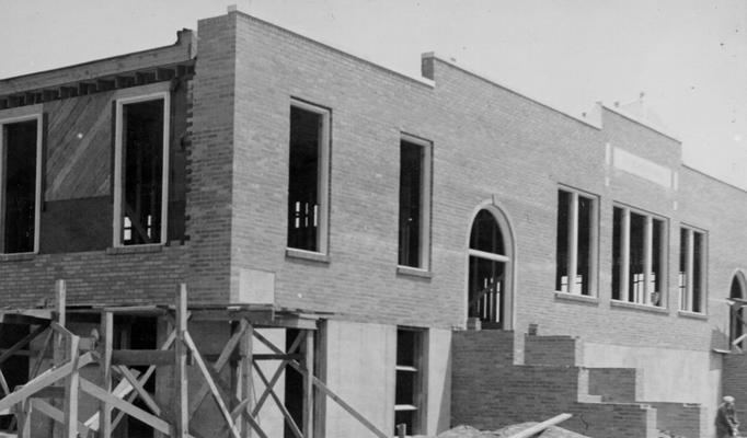 Project #518 District 1: Construction of a one-story brick veneered school building containing 11 rooms, auditorium, gymnasium, stage and dressing rooms at Cayce, KY. View of the front of the building, nearing completion, ws photographed May 7, 1936