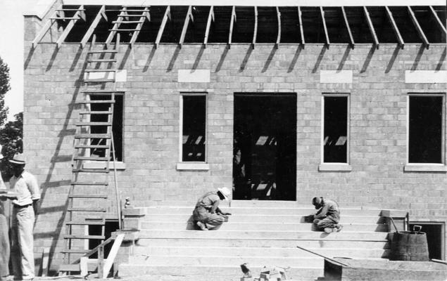 Project #1697 District 2: Public Office Building, Tompkinsville, KY. A later view of the public office building, photographed June 25, 1936, showing walls completed and building ready to receive roofing