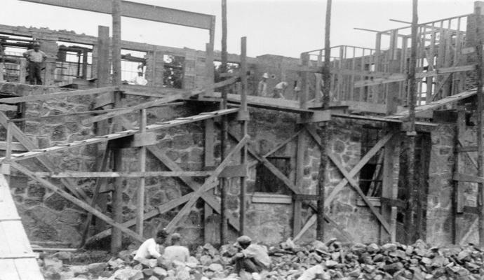 Project #? District 4: City Hall Building at Barbourville, KY. Work was in progress on the second floor of the new city hall and fire department building at Barbourville, KY, at the time the photograph was taken on July 16, 1936. The building is of brick and cut stone construction