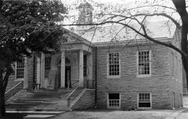 Project #729 District 5: Construction of a municipal public library building of native sandstone in the City of Ashland, KY. Front view of the Ashland Public Library Building of native sandstone construction. Photograph taken August 12, 1936