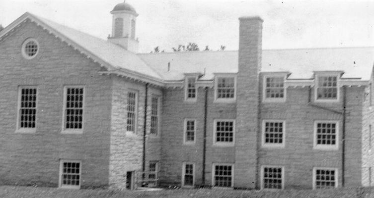 Project #729 District 5: Construction of a municipal public library building of native sandstone in the City of Ashland, KY. Side view of the Ashland Library photographed August 12, 1936