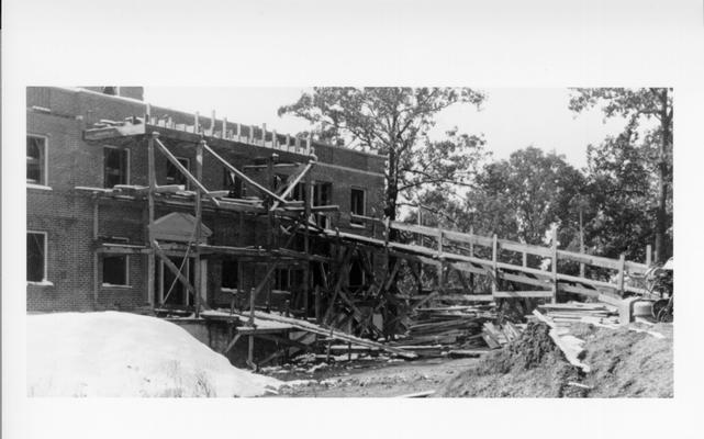 Project #2289 District 1: Project #2289 is the construction of a fire proof city hospital at Greenville, KY. View, photographed November 5, 1936, shows Greenville Hospital ready for roof