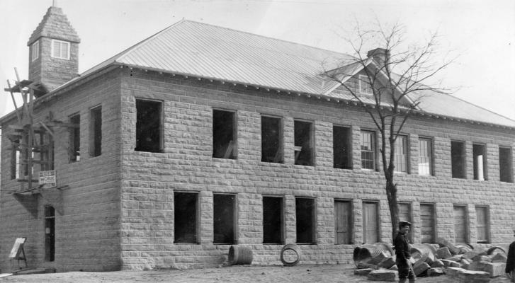 Project #729 District 5: Project #729 is the construction of a public library building in Ashland, KY. Outside walls are of native stone. Front view of Ashland Public Library, photographed December 16, 1936