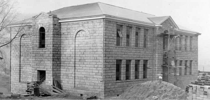 Project #79 District 5: Construction of an 8-room elementary school building at Shelbiana, KY. The walls are native stone. View was photographed December 14, 1936
