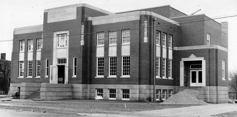 Project #2446 District 6: The construction of a new library and auditorium building for the city of Franklin, KY. This building, of brick and tile construction, has a seating capacity of 800. View shows library and auditorium nearing completion, photographed January 7, 1937