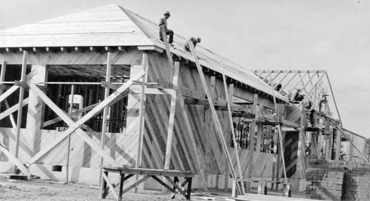 Project #3008 District 1: Project #3008 is the construction of a six-room brick veneer school building at Hickory Grove, KY. View shows roofing and sheathing work for the proposed brick veneer school. Photograph taken September 25, 1936