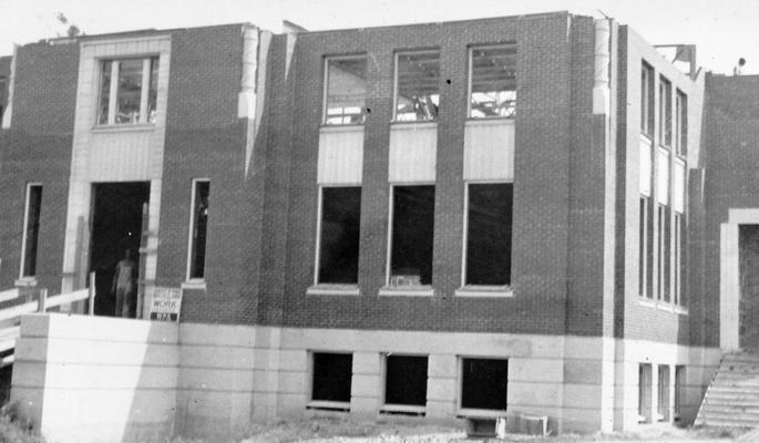 Project #2446 District 6: The construction of a brick and tile building, which will serve as a municipal library and auditorium at Franklin, KY. Front view of municipal library and auditorium. Photograph taken September, 1936
