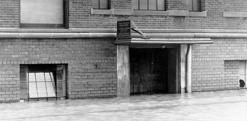 1937 Flood. The front entrance of the State WPA Office at Louisville, KY, on February 4, 1937. During the flood period, a temporary State Office was opened and maintained in the Highlands section of the city, which was not flooded