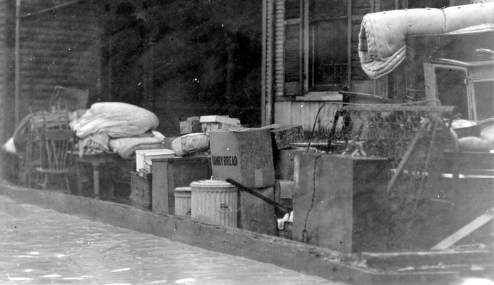 1937 Flood. Moving furniture from stricken area. A close up view of a raft used by the WPA in moving furniture from flood stricken homes in Newport, KY. Photograph taken January 24, 1937