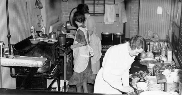1937 Flood. An emergency kitchen operated in conjunction with on emergency hospital at St. Matthews, KY. Volunteer help in this kitchen used government surplus commodities. Photograph taken February 3, 1937. WPA women workers were assigned to similar units as cooks, cleaning women, clerks, etc. in all flooded areas