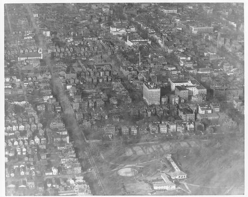 South central section showing Central Park with Mayflower and Puritan apartments to the right; note the one block on 6th street which is not flooded - 1/27/37