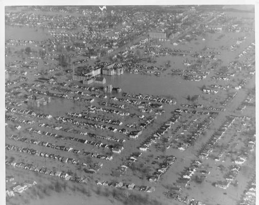View of west end of Louisville with Western Junior High at left center - 1/27/37