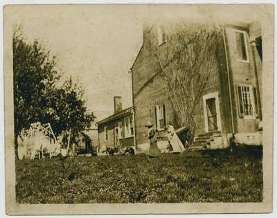 Miss Katherine Helm and Miss Dee at Helm Place - circa 1912 (verso)