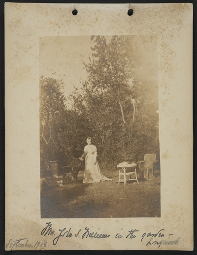 Mrs. John S. Williams in the garden- Longwood