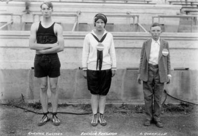 Rural School Tournament held at Stoll Field, Lexington High School, left to right: Chester Villines, Bernize Ferguson and L. Overfield