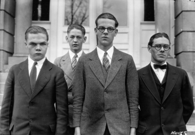 Unidentified high school students from Knott County, Kentucky visiting the University, standing in front of Miller Hall