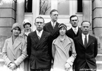 Unidentified high school students from Leitchfield, Kentucky visiting the University, standing in front of Miller Hall