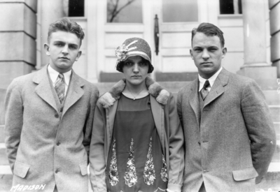 Unidentified high school students from Madison County,  Kentucky visiting the University, standing in front of Miller Hall
