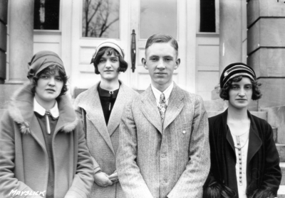 Unidentified high school students from Mays Lick, Kentucky visiting the University, standing in front of Miller Hall