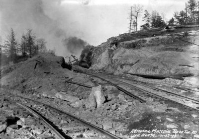 Removing material, top of tunnel 20, looking north