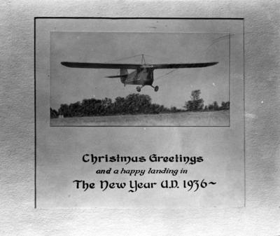 Christmas card with Nollau airplane photograph: