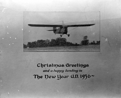 Christmas card with Nollau airplane photograph: