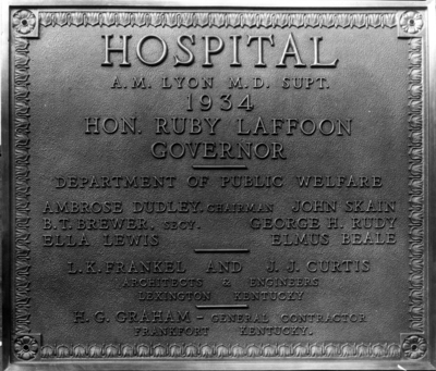 Plaque at Eastern State Hospital,