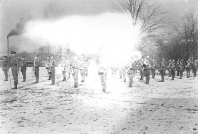 Band on field with snow