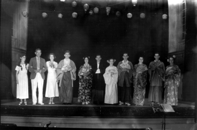 Mikado -- performers aligned on stage