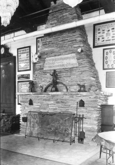 Dicker Hall, interior, stone fireplace