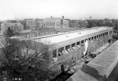 Construction of Engineering quadrangle, rooftop view