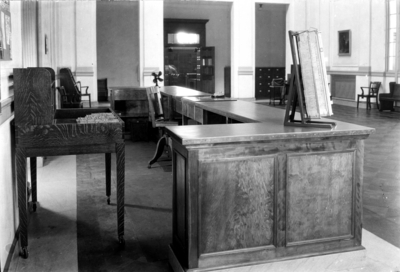 Margaret I. King circulation desk in Great Hall with the Breckinridge Room doors opening into the reading room