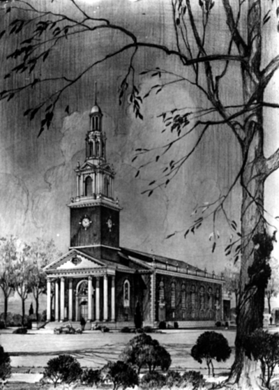 Memorial Hall sketch by Anna Louise Rice