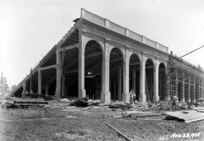 Stadium construction, partly completed arches