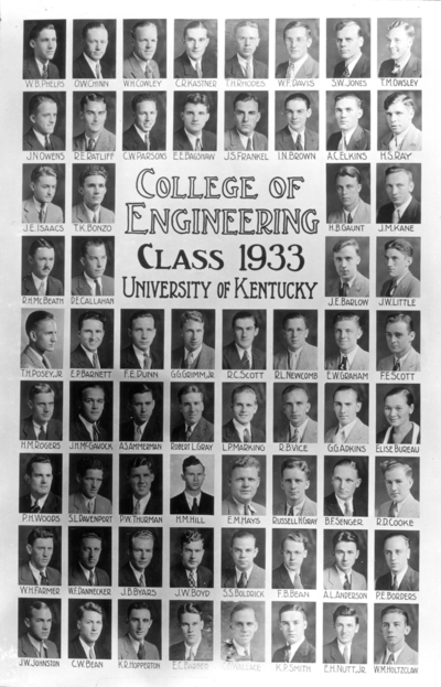 College of engineering class of 1933