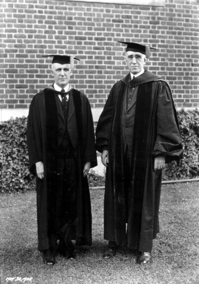 Unidentified person and President Frank L. McVey, at Commencement