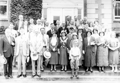 Class of 1907 at reunion in front of the Administration Building