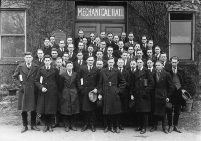 Group photograph, students, Mechanical Hall (the original Anderson Hall), includes Rothwell Woodward, Frank Baugh